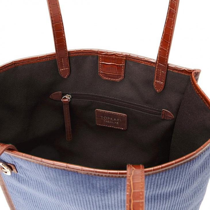 [トプカピ トレジャー] TOPKAPI TREASURE コーデュロイ クロコ パイピング A4 トート バッグ