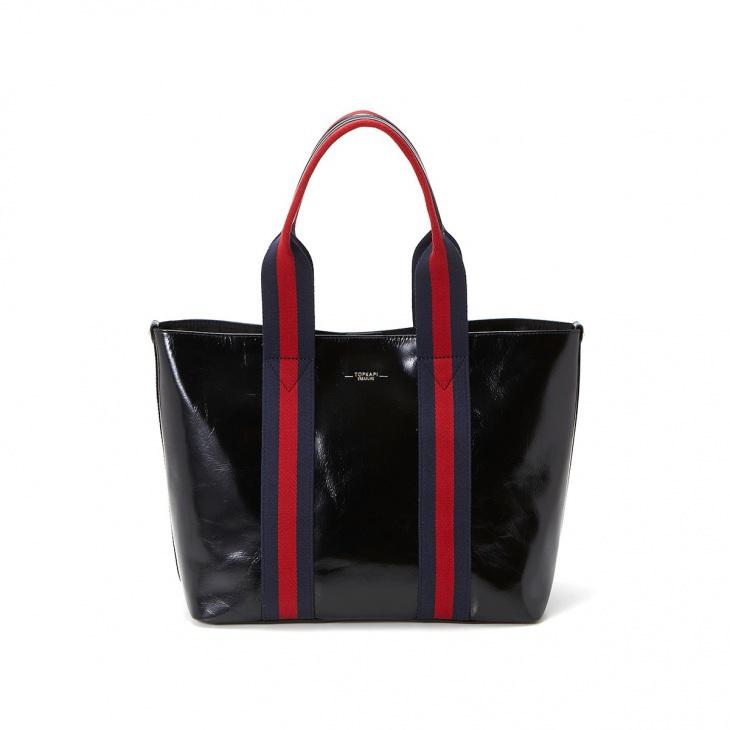 [トプカピ トレジャー] TOPKAPI TREASURE ストライプハンドル ツヤレザー A4 トートバッグ