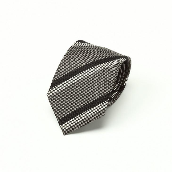 [ニッキー] Nicky バスケット織り ストライプ柄 ネクタイ グレー