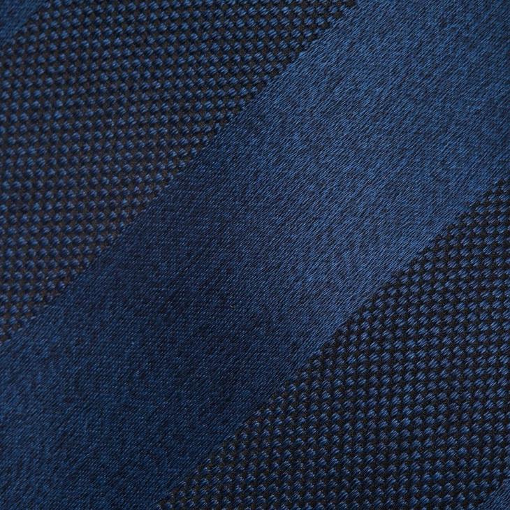 [クリケット] CRICKET メランジサテンバスケットミックス織りストライプ無地 ネクタイ マリンブルー