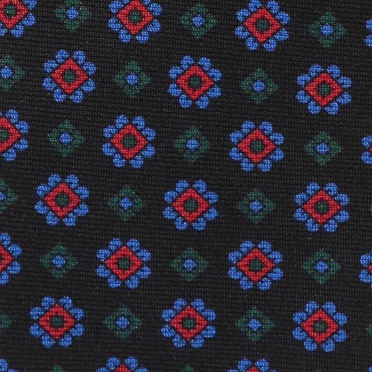 [クリケット] Cricket 英国製 36OZシルク リアルマダープリント 小紋柄 ネクタイ Royal ロイヤル ブラック