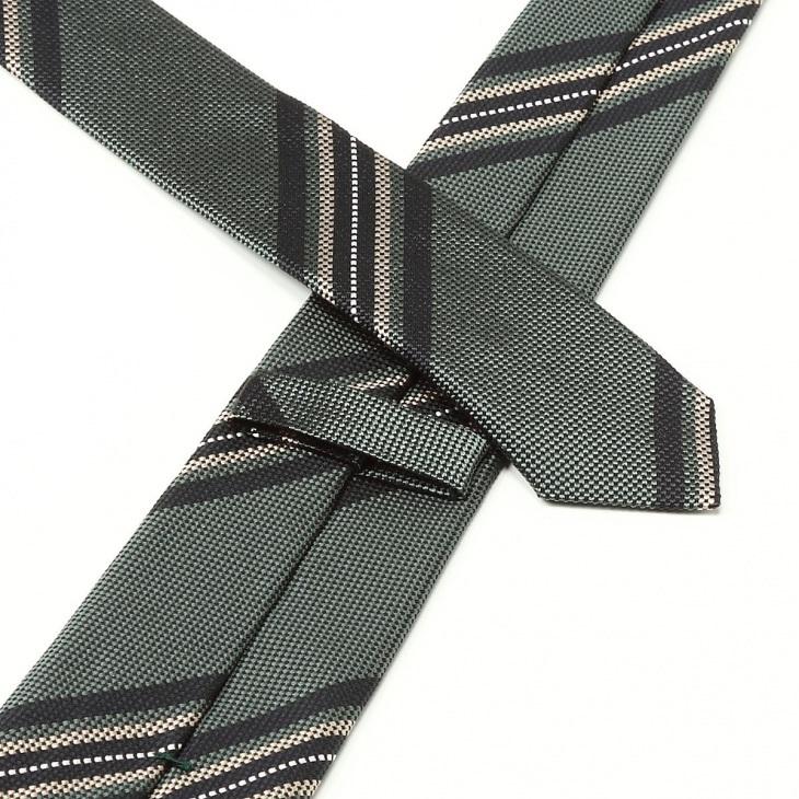 [ニッキー] Nicky バスケット織り ストライプ柄 ネクタイ ブルーグレー