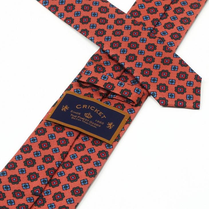 [クリケット] Cricket 英国製 36OZシルク リアルマダープリント 小紋柄 ネクタイ Royal ロイヤル オレンジ