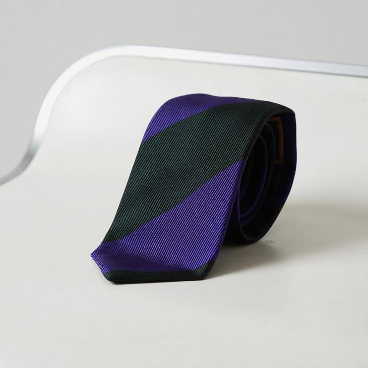 [クリケット] Cricket イタリア製生地 レップ織り ビッグストライプ ネクタイ ノーブル ブラック