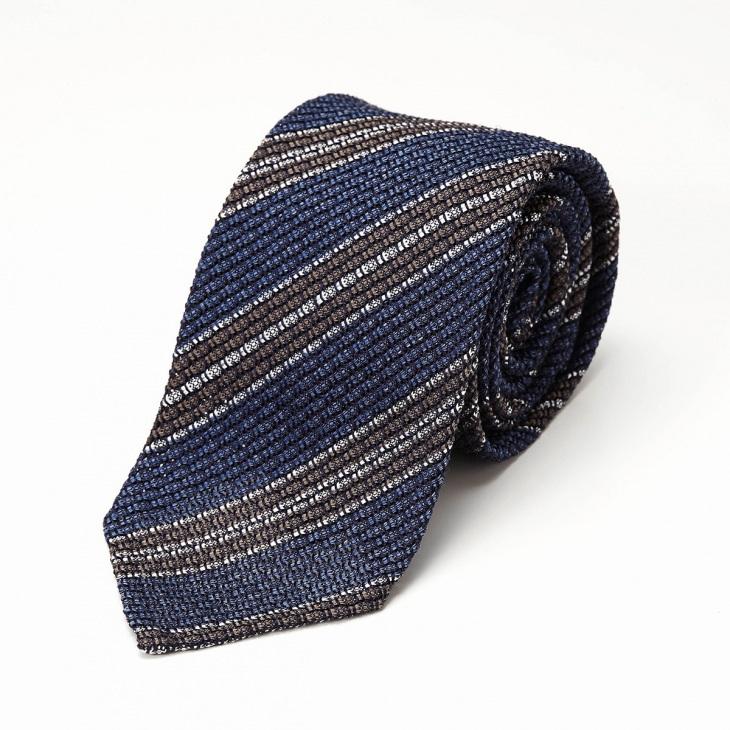 [クリケット] CRICKET フレスコ織りストライプ柄 ネクタイ ブルー