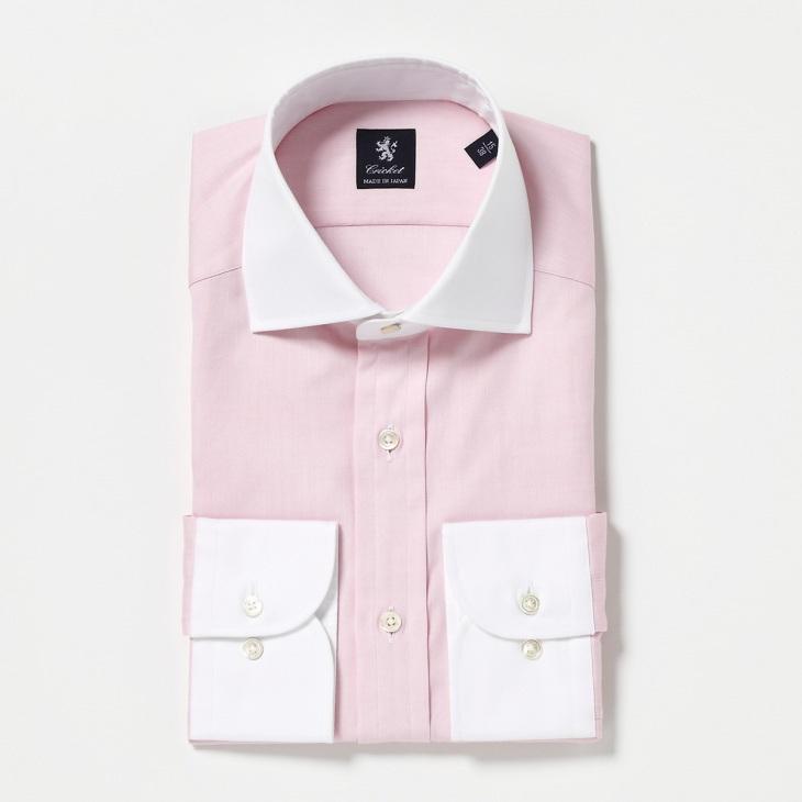 [クリケット] Cricket オリジナル マスターシード ピンポイントOX クレリックセミワイドカラーシャツ 日本製 ペールピンク