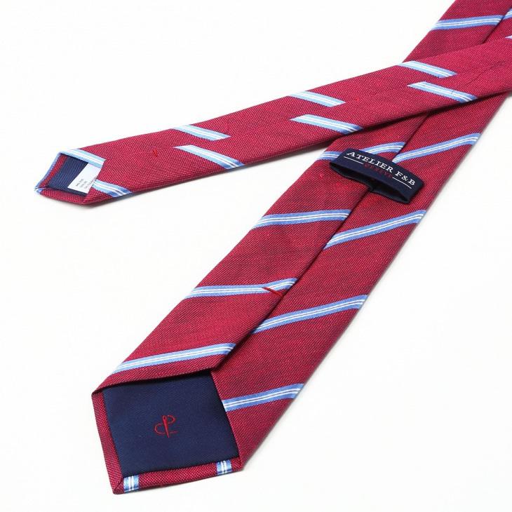 [アトリエF&B] AtelierF&B ストライプ柄 ネクタイ フランス製 エンジ