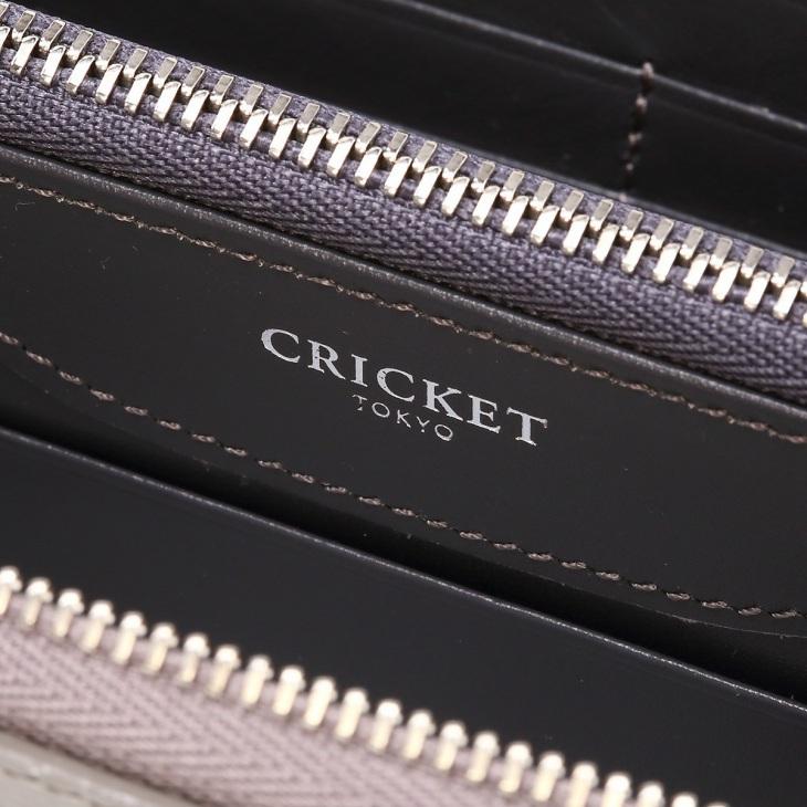 [クリケット] Cricket 水シボ型押し パルメラート ラウンドジップ ウォレット グレー