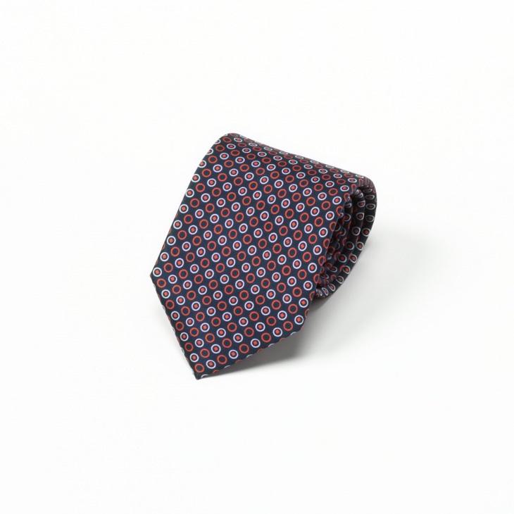 [ガリエーニ] Gallieni 小紋柄xマイクロ柄 切り替え ネクタイ Noble レッド