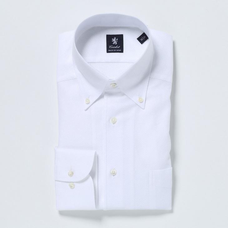 [クリケット] Cricket 無地イタリアンボタンダウンカラーシャツ 日本製 ホワイト