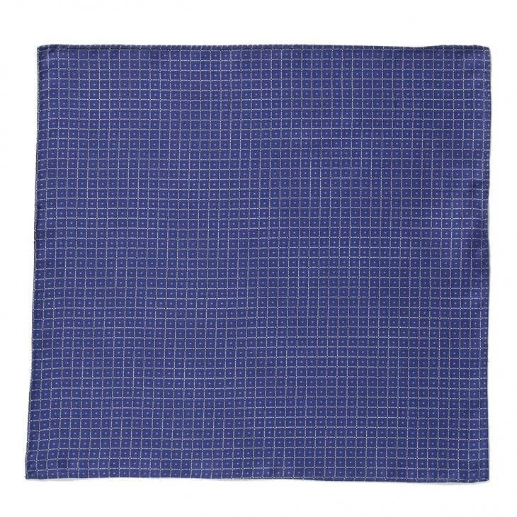 [クリケット] Cricket イタリア製生地 プリントマイクロ柄ポケットチーフ ブルー