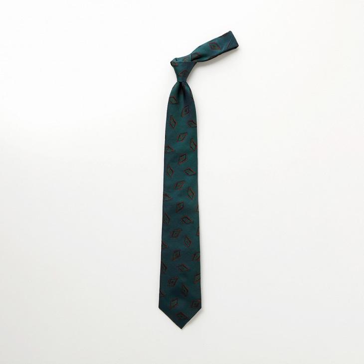 [クリケット1960] Cricket 1960 イタリア製生地 ヴィンテージ調小紋柄 ネクタイ グリーン