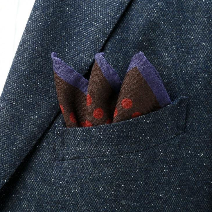 [ガリエーニ] Gallieni プリントドット柄ポケットチーフ ブラウン