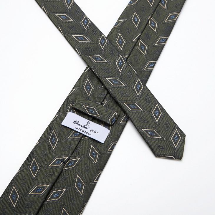 [クリケット1960] Cricket 1960 イタリア製生地 ヴィンテージ調小紋柄 ネクタイ オリーブ