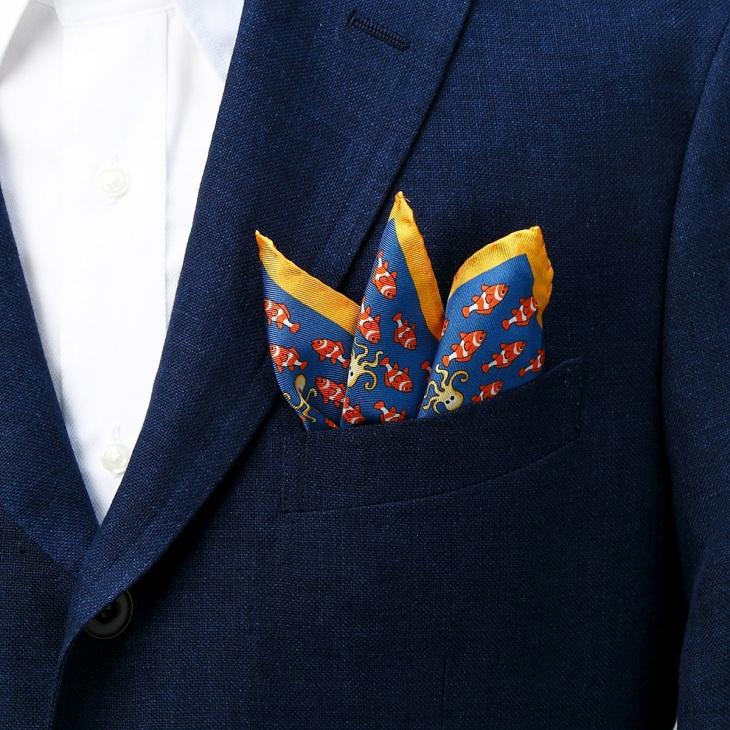 [ララーナミラノ] La Rana Milano フィッシュ柄ポケットチーフ ブルー