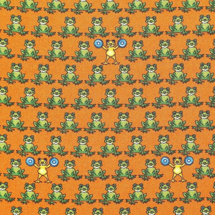 [ララーナミラノ] La Rana Milano カエル柄ポケットチーフ オレンジ