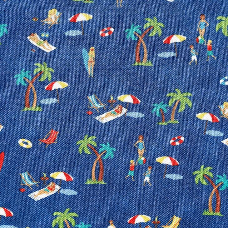 [ララーナミラノ] La Rana Milano ビーチ柄ポケットチーフ ブルー