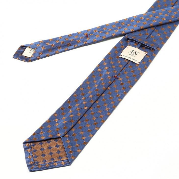 [アーディ アンド シー] AD&C 幾何柄 ネクタイ Royal ブルー