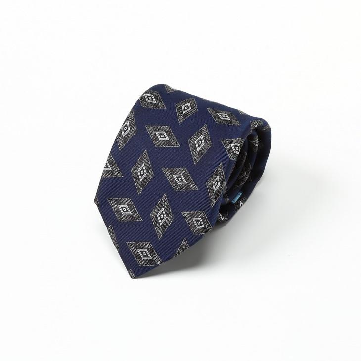 [クリケット] Cricket ヴィンテージ調幾何柄 ネクタイ Premium ブルー