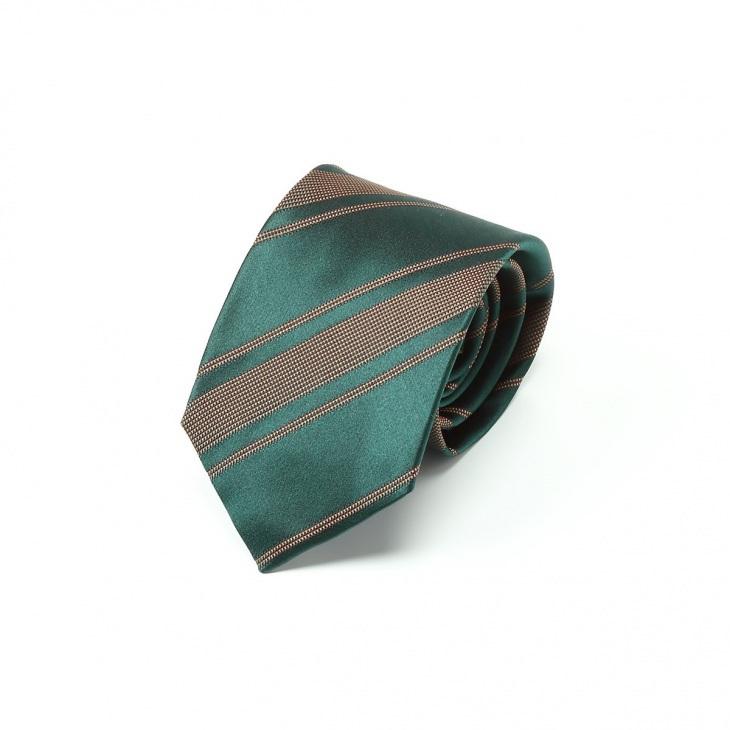 [クリケット] Cricket イタリア製生地 ミックス織りストライプ ネクタイ Noble ノーブル ダークグリーン