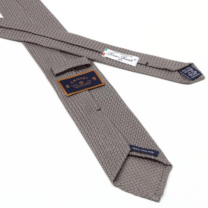 [クリケット] Cricket イタリア製生地 フレスコ織り 無地 ネクタイ Noble ノーブル グレー