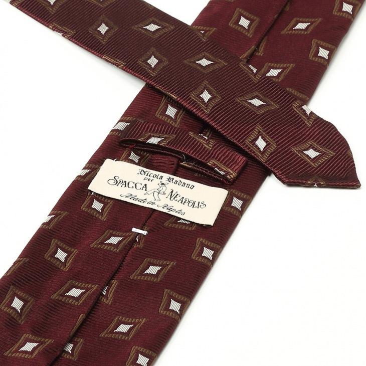 [スパッカネアポリス] Spacca Neaporis ヴィンテージ生地仕様 小紋柄ネクタイ エンジ