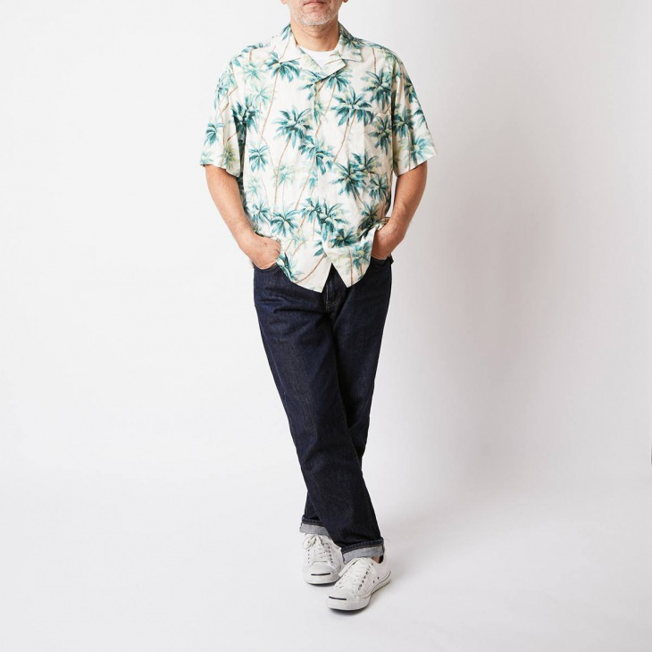 [クリケット1960] Cricket 1960 ハワイアン柄プリント 半袖オープンカラーシャツ ホワイト