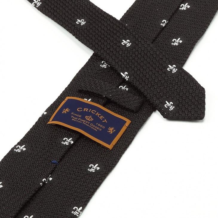 [クリケット] Cricket イタリア製生地 フレスコ織り クレスト柄 ネクタイ Noble ノーブル ブラック