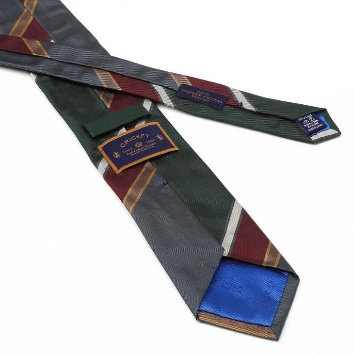[クリケット] Cricket 英国製生地 レップ織りビッグストライプ柄 ネクタイ Premium プレミアム グレー