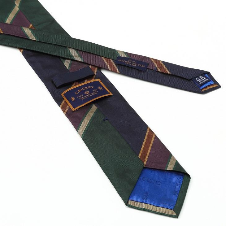 [クリケット] Cricket 英国製生地 レップ織りビッグストライプ柄 ネクタイ Premium プレミアム グリーン