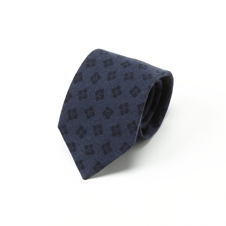 [ガリエーニ] Gallieni 小紋柄 ウールプリント ネクタイ ブルー