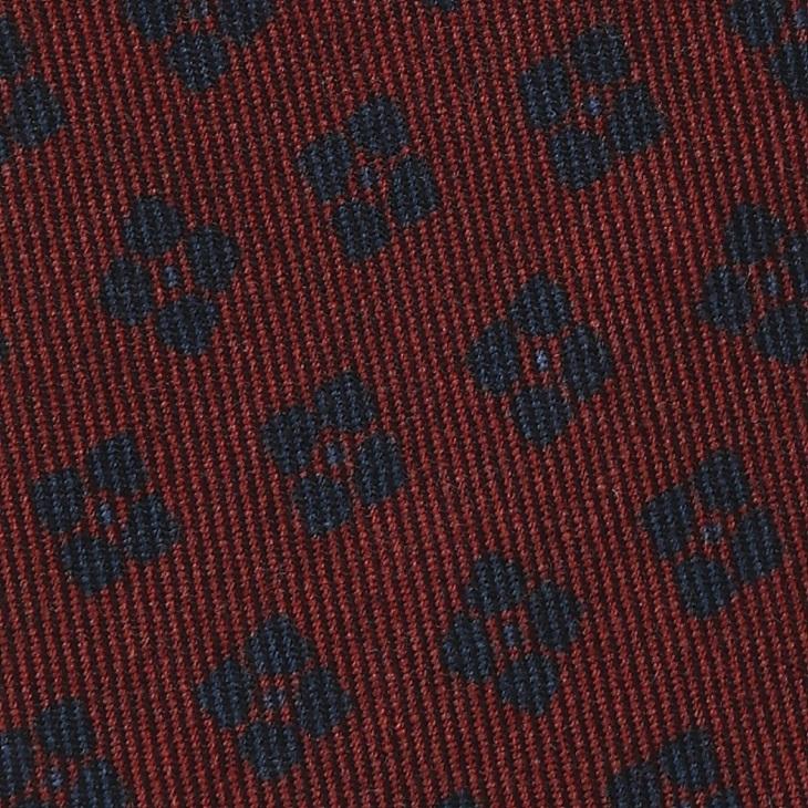[ガリエーニ] Gallieni 小紋柄 ウールプリント ネクタイ ダークワイン