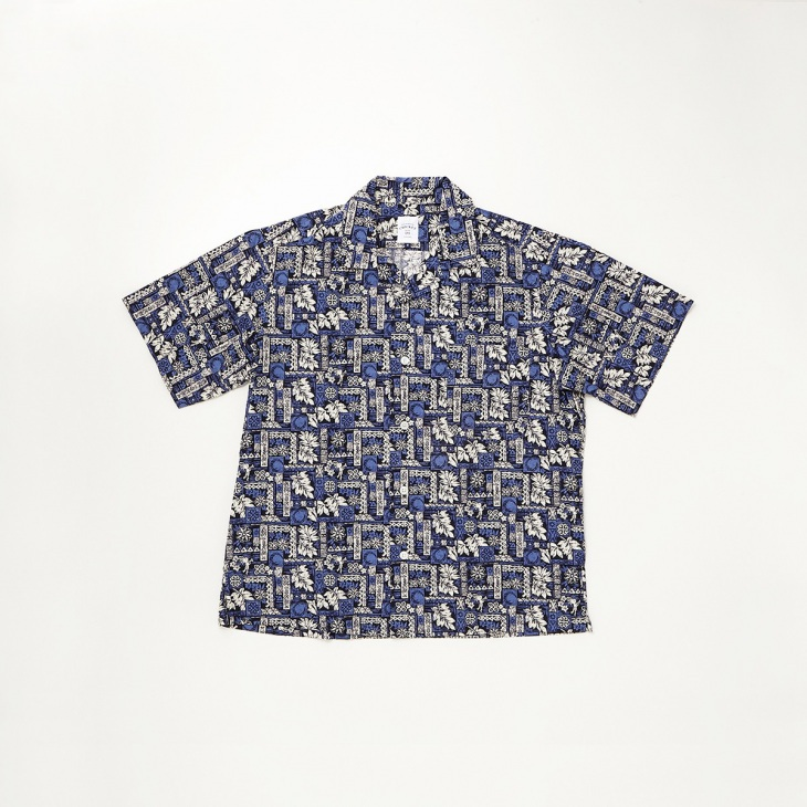 [クリケット1960] Cricket 1960 ハワイアン柄プリント 半袖オープンカラーシャツ ブルー