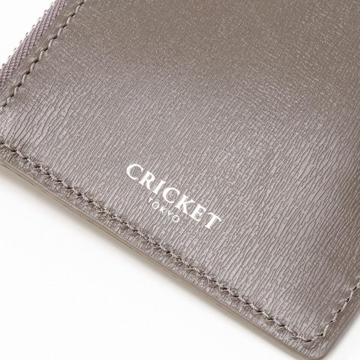 [クリケット] Cricket 水シボ型押し パルメラート ジップ付きカードケース グレー