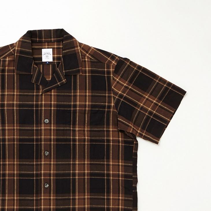 [クリケット1960] Cricket 1960 マドラスチェック 半袖オープンカラーシャツ ブラック