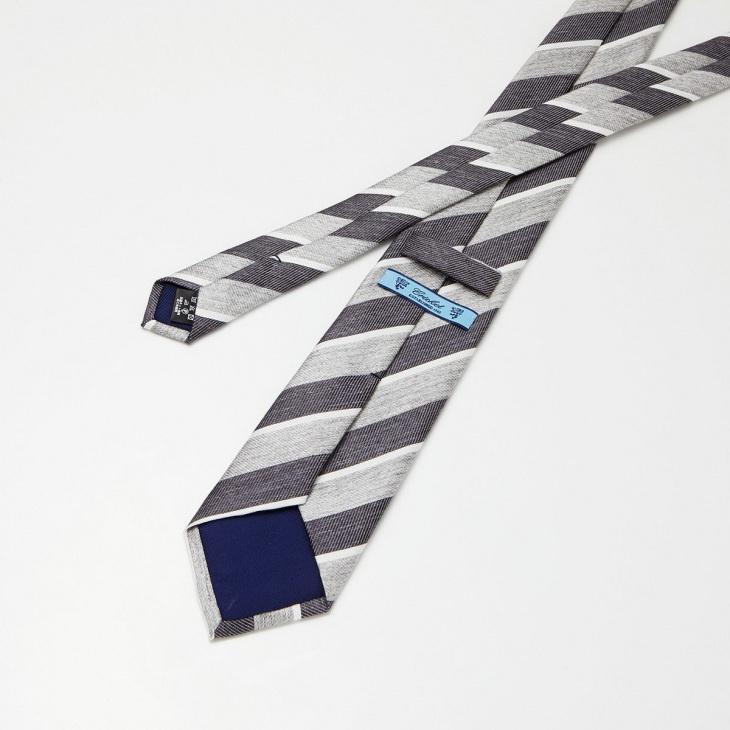 [クリケット] CRICKET リネンストライプ ネクタイ グレー