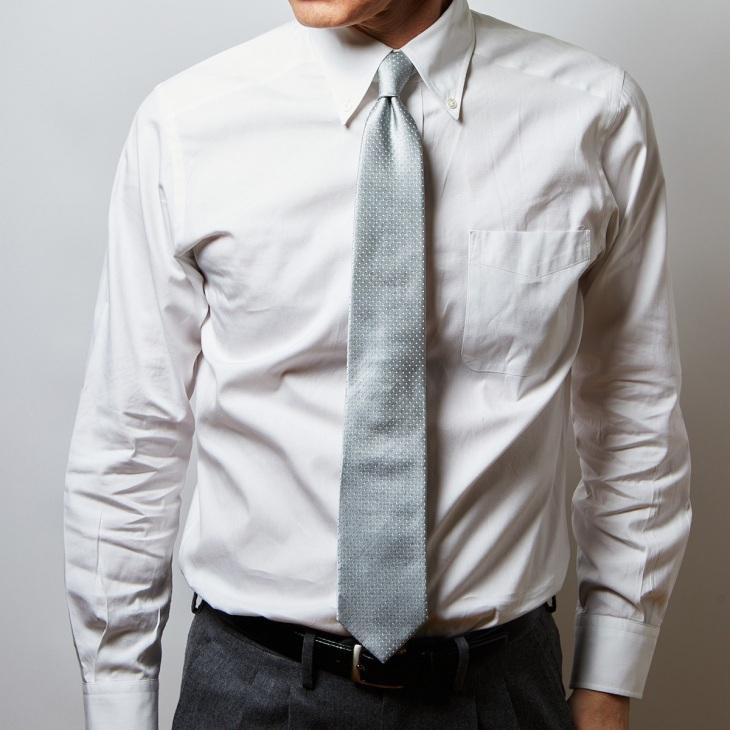 [クリケット] CRICKET サテン織りピンドット柄 ネクタイ グレー