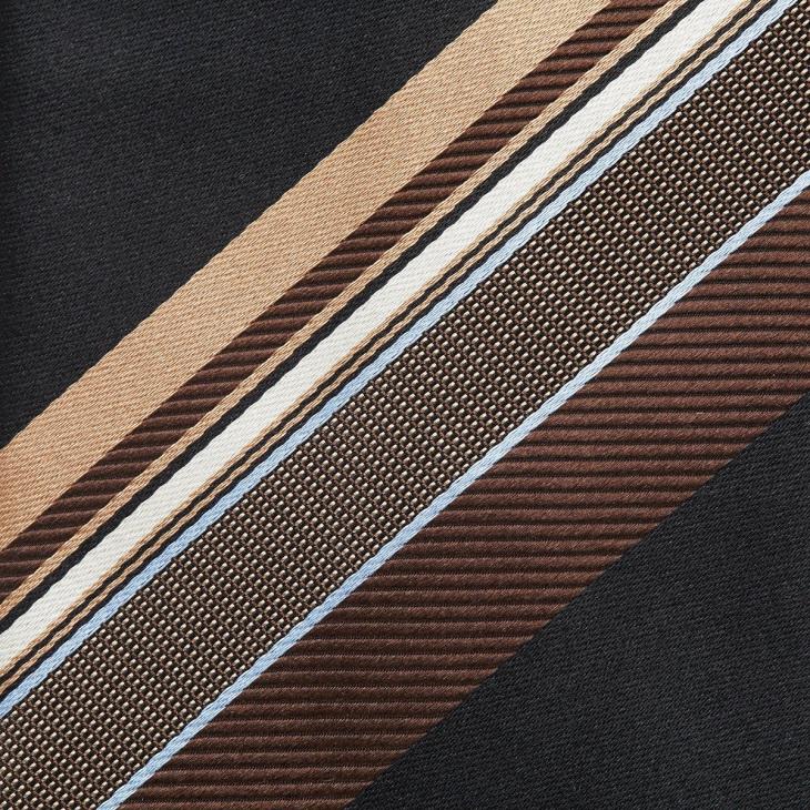 [クリケット] Cricket イタリア製生地 パネルストライプ ネクタイ ノーブル ブラック