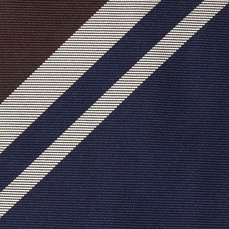 [クリケット] Cricket 英国製生地 レップ織りビッグストライプ柄 ネクタイ Premium プレミアム マリンブルー