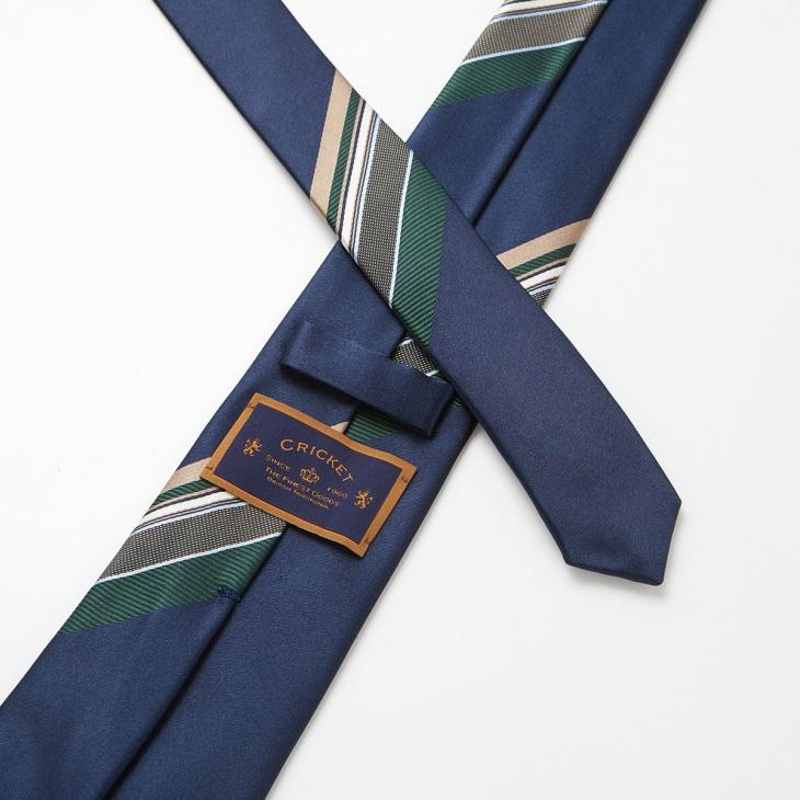 [クリケット] Cricket イタリア製生地 パネルストライプ ネクタイ ノーブル コン