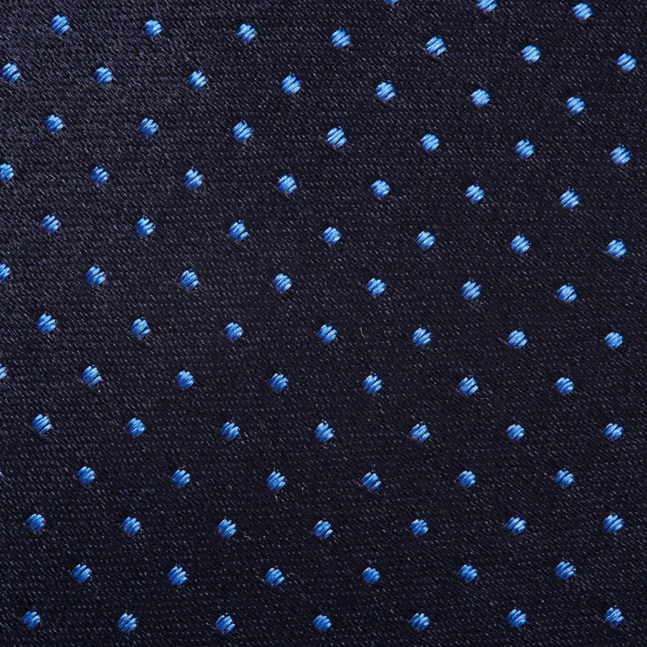 [クリケット] CRICKET サテン織りピンドット柄 ネクタイ マリンブルー