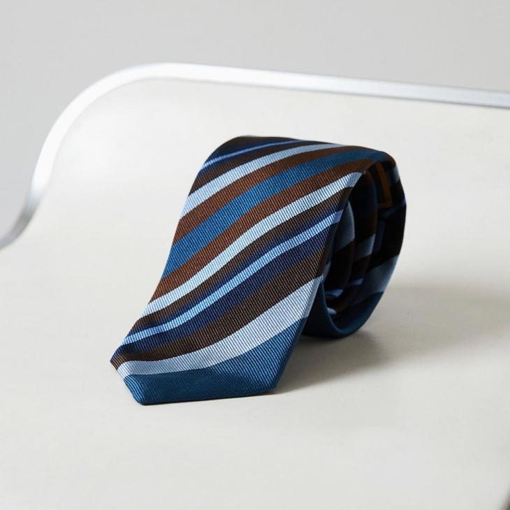[クリケット] Cricket イタリア製生地 パネルストライプ ネクタイ ノーブル ブルー