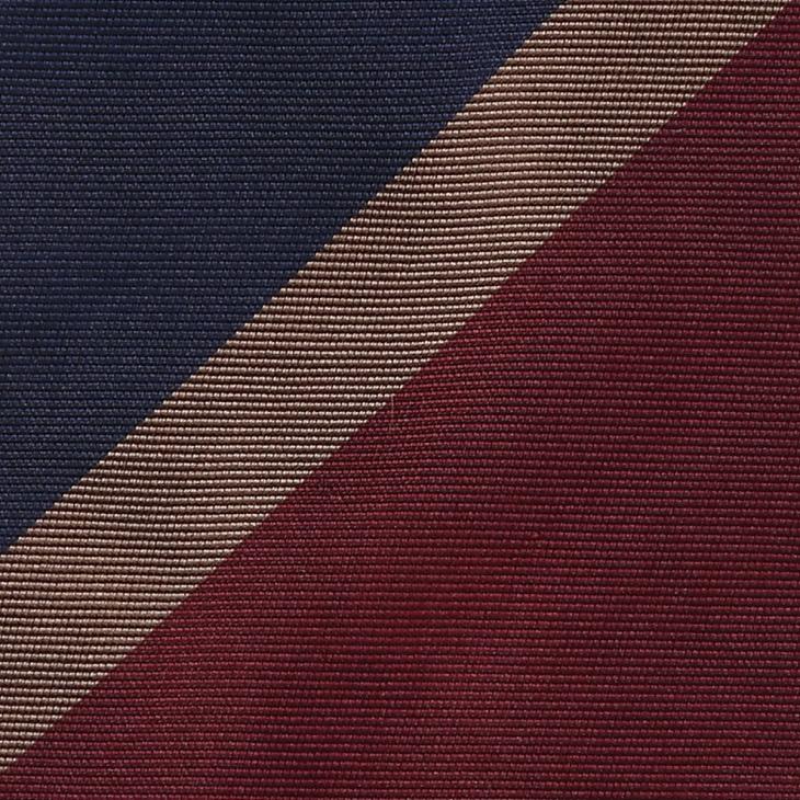 [クリケット] Cricket 英国製生地 レップ織りビッグストライプ柄 ネクタイ Premium プレミアム ダークワイン