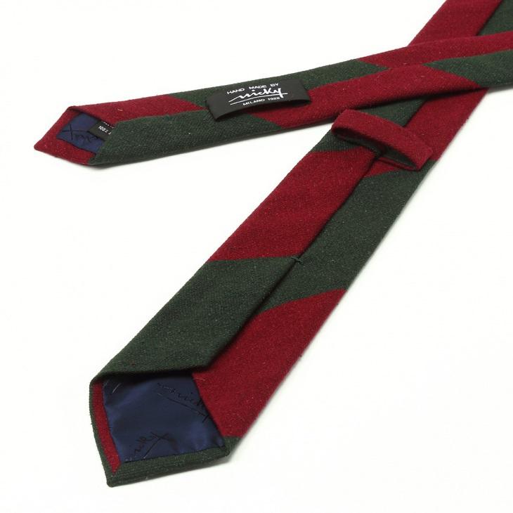 [ニッキー] Nicky 絹紡 ビッグストライプ柄 ネクタイ グリーン