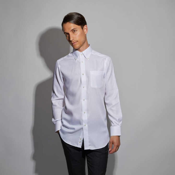 [クリケット] CRICKET 形態安定加工 ストライプ織り柄ボタンダウンカラーシャツ 日本製 ホワイト
