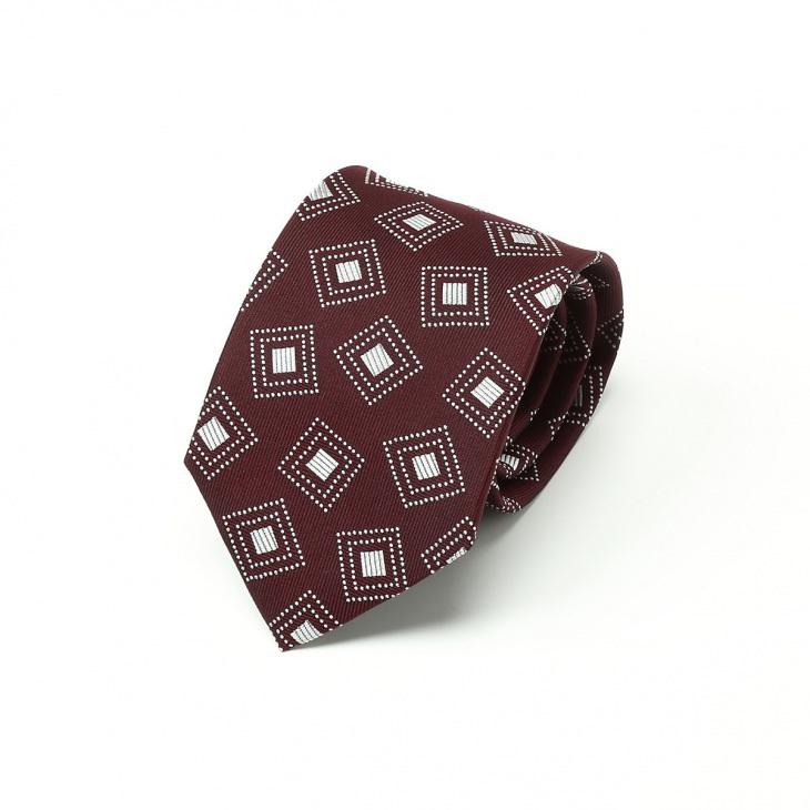 [クリケット] Cricket 四角柄 ネクタイ Premium プレミアム ダークワイン