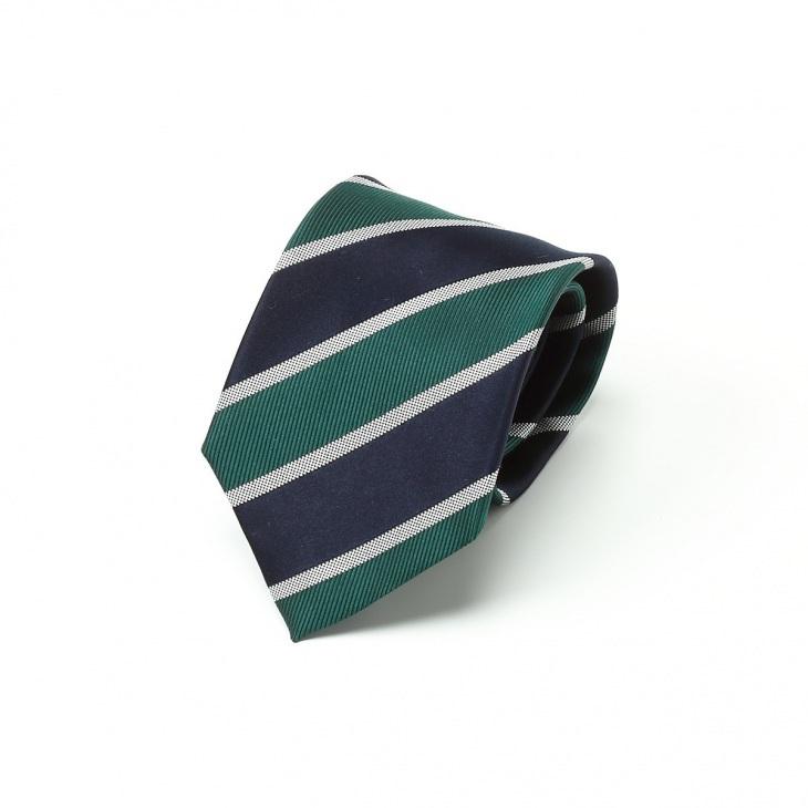 [クリケット] Cricket ミックス織り ストライプ柄 ネクタイ Premium プレミアム グリーン