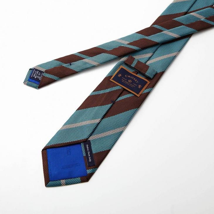 [クリケット] CRICKET 綾織りストライプ柄 ネクタイ コゲチャ