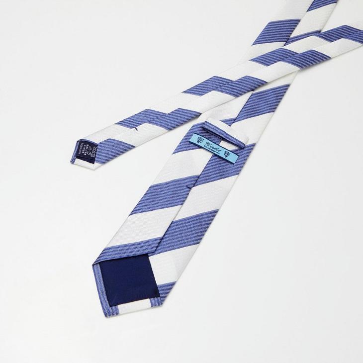 [クリケット] CRICKET サッカー織り2段ストライプ ネクタイ ブルー