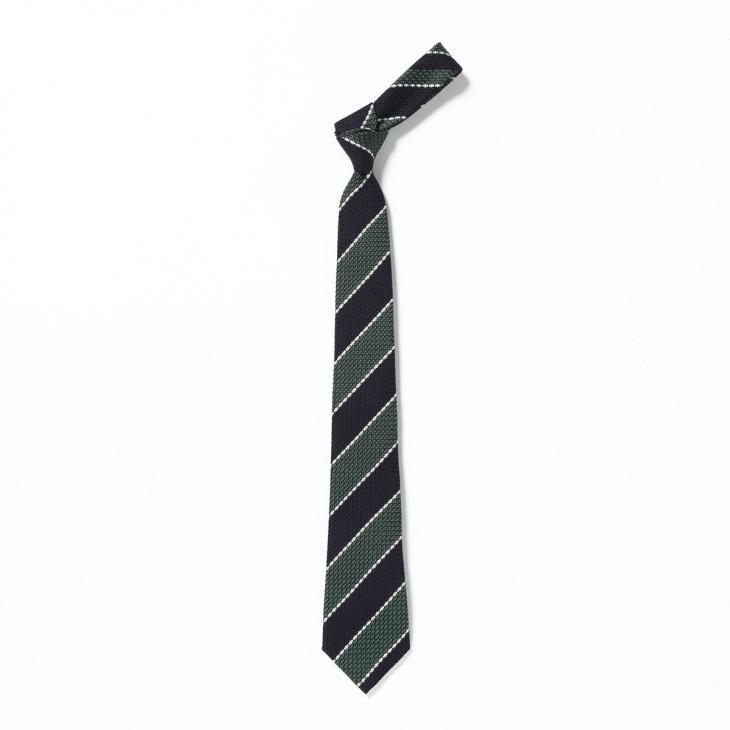 [ニッキー] Nicky フレスコ織り ストライプ柄 ネクタイ グリーン